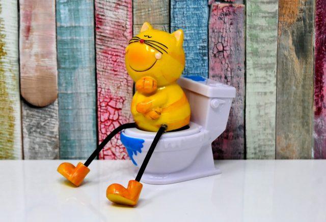 トイレに座った猫のフィギュア